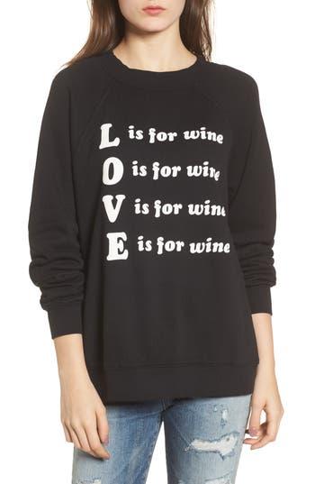 Women's Wildfox Wino - Sommers Sweatshirt, Size X-Small - Black