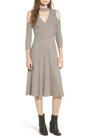 Women's Soprano Choker Neck Cold Shoulder Midi Dress, Size X-Small - Grey