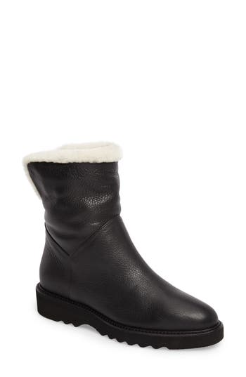 Aquatalia Kimberly Weatherproof Genuine Shearling Bootie- Black