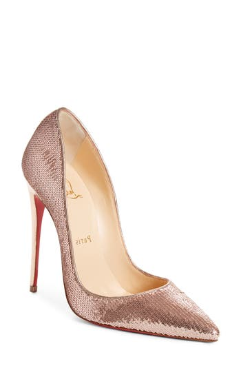 Christian Louboutin So Kate Sequin Pointy Toe Pump - Beige