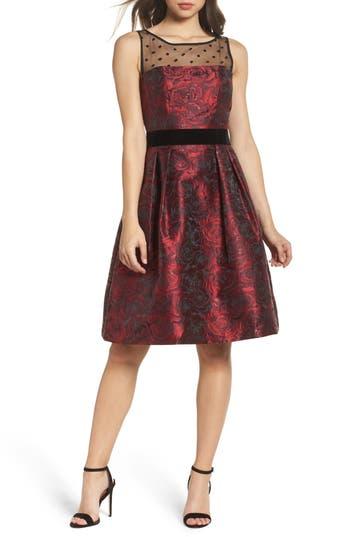 Eliza J Jacquard Fit & Flare Dress, Red