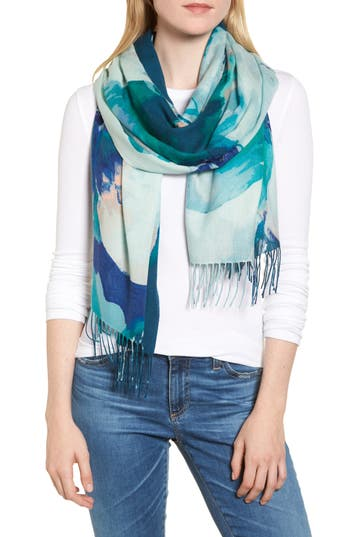 Women's Nordstrom Tissue Print Wool & Cashmere Wrap Scarf, Size One Size - Blue/green