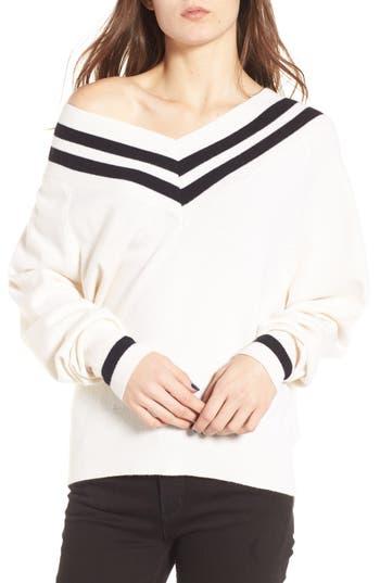 Women's Kendall + Kylie Stripe Sweater, Size X-Small - White