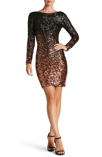 Dress The Population Lola Ombre Sequin Body-Con Dress, Black