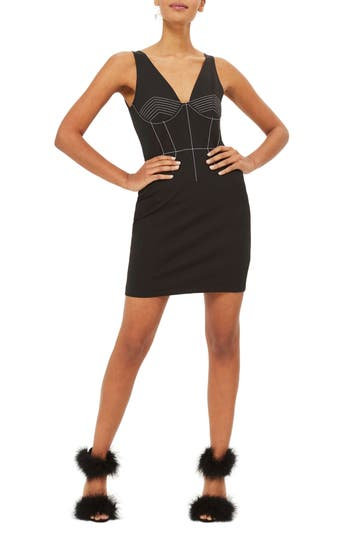 Topshop Contrast Stitch Body-Con Dress, US (fits like 0) - Black