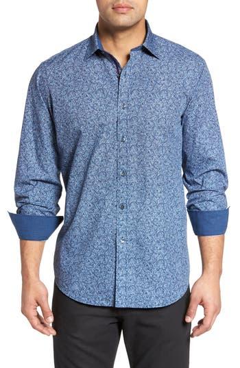 Men's Bugatchi Classic Fit Scroll Print Sport Shirt, Size XX-Large - Blue