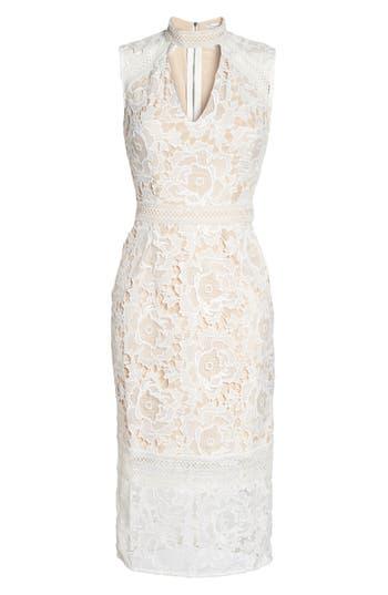 Cooper St Alessandra Lace Choker Midi Dress, White