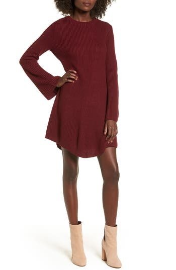 Cotton Emporium Flared Sleeve Sweater Dress, Burgundy