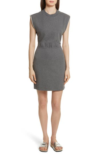 T By Alexander Wang French Terry Dress, Grey