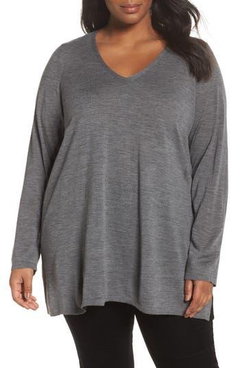 Plus Size Eileen Fisher Merino Wool Tunic Sweater, Grey