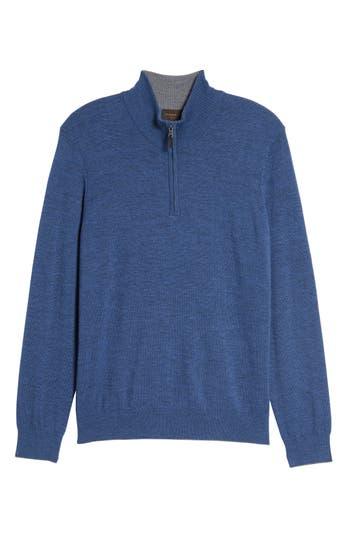 Thomas Dean Merino Wool Blend Quarter Zip Sweater, Blue