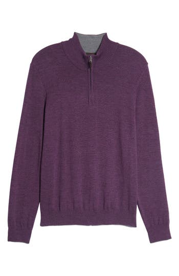 Thomas Dean Merino Wool Blend Quarter Zip Sweater, Purple