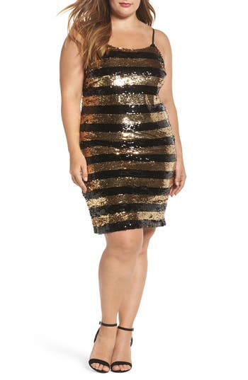 Plus Size Women's Soprano Sequin Stripe Body-Con Dress, Size 1X - Metallic