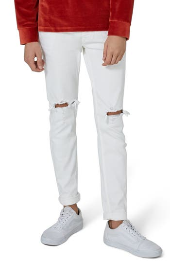 Topman Ripped Skinny Jeans, White