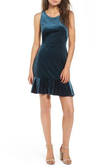 Rebecca Minkoff Tiffany Ruffle Hem Sheath Dress, Blue/green