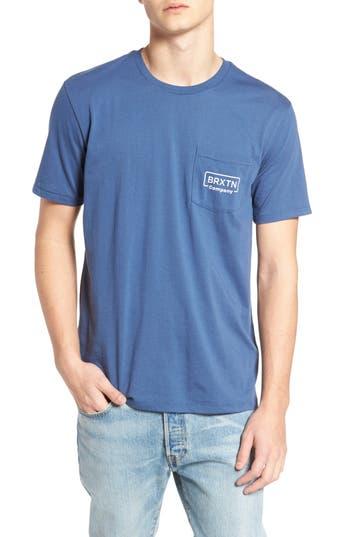 Brixton Crosswhite Pocket T-Shirt, Blue
