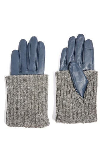 Topshop Wool-Blend Cuff Genuine Leather Gloves, Blue
