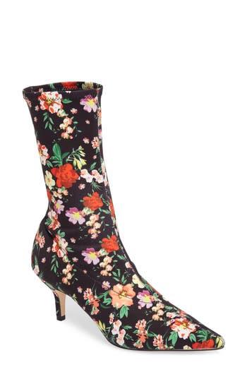 Steve Madden Ramone Floral Sock Bootie- Black