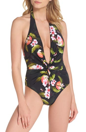 Ted Baker London Cherry Blossom Twist One-Piece Swimsuit, Black
