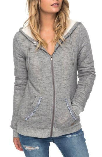 Roxy Trippin Fleece Trim Hoodie, Grey