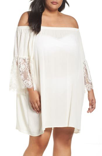 Plus Size Chelsea28 Off The Shoulder Cover-Up, Ivory