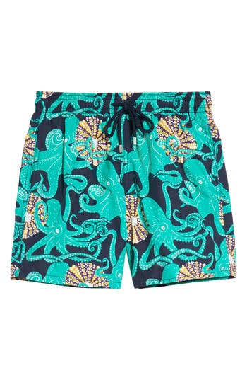 Men's Vilebrequin Octopus & Coral Swim Trunks, Size Medium - Blue