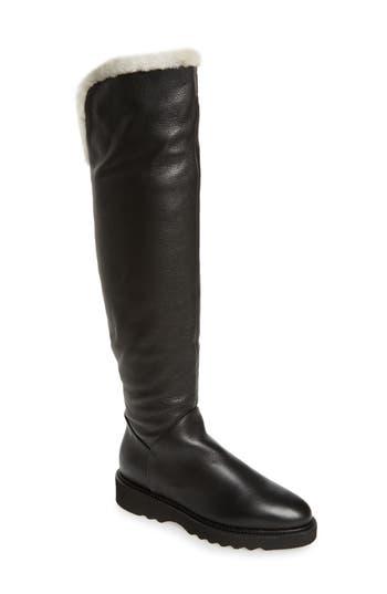 Aquatalia Kiara Genuine Shearling Lining Weatherproof Over The Knee Boot, Black