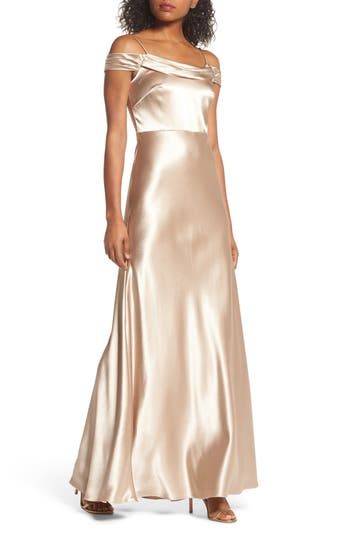 Jenny Yoo Sabine Satin Off The Shoulder Gown, Beige