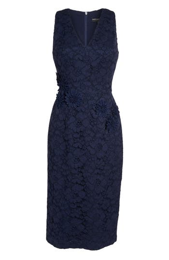 Maggy London Floral Lace Midi Dress, Blue