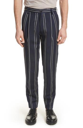 Men's Tomorrowland Stripe Wool & Linen Pants, Size 50 EU - Blue