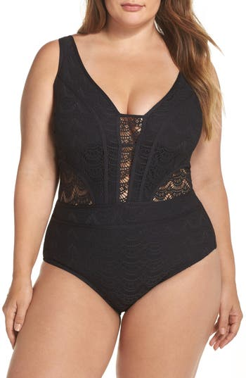 Plus Size Becca Etc. Show & Tell One-Piece Swimsuit