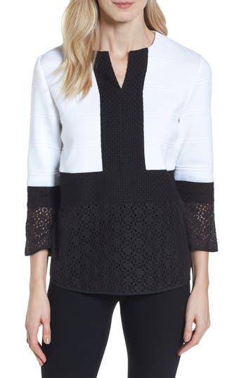 Womens Ming Wang Knit  Lace Tunic Size Large  White