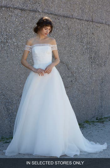 Nouvelle Amsale Nara Off The Shoulder Organza Ballgown, Ivory