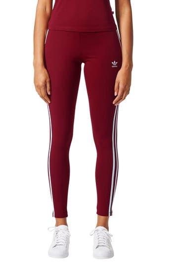 Adidas Originals 3-Stripes Leggings, Burgundy