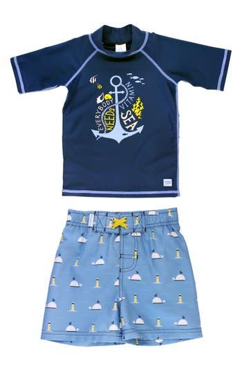 Boys Ruggedbutts Vitamin Sea Rashguard  Board Shorts Set Size 5  Blue