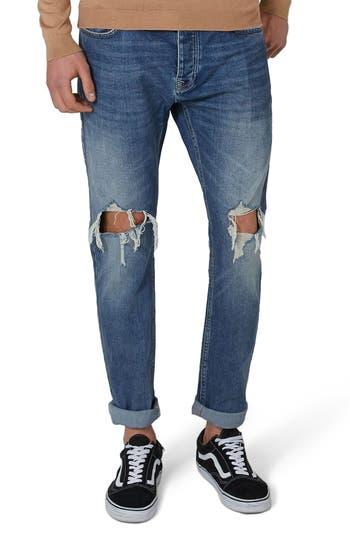 Men's Topman Polly Ripped Jeans, Size 28 x 32 - Blue