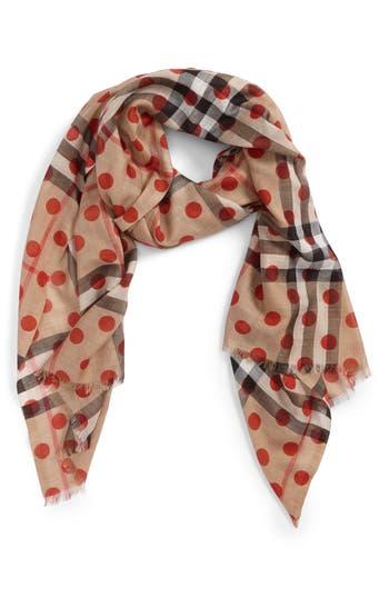 Burberry Dot & Giant Check Wool & Silk Gauze Scarf