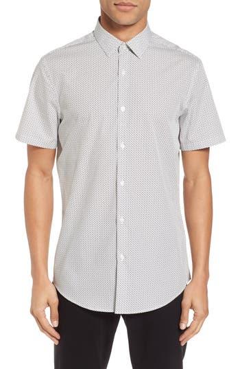 Calibrate Slim Fit Print Short Sleeve Sport Shirt, White