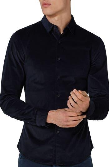 Topman Muscle Fit Corduroy Shirt, Blue