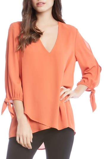Women's Karen Kane Tie Sleeve Top, Size X-Small - Orange