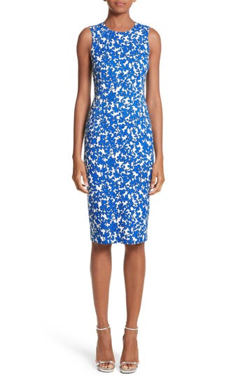 Michael Kors Floral Print Sheath Dress, Blue