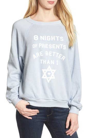 Women's Wildfox Eight Nights Of Presents Hanukkah Sweater, Size X-Small - Blue