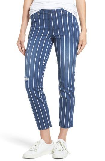 Hue Stripe Denim Crop Leggings, Blue
