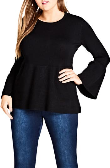 Plus Size Women's City Chic Bell Sleeve Peplum Sweater, Size X-Small - Black