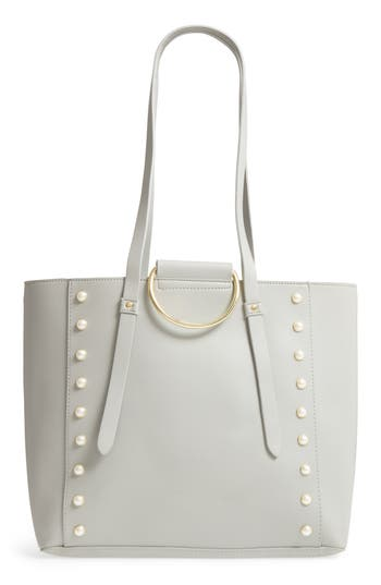 Bp. Imitation Pearl Embellished Faux Leather Ring Tote - Grey