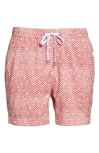 Onia Charles Water Tile Swim Trunks, Red