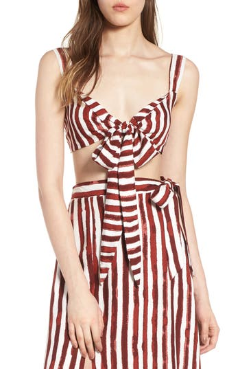 4si3nna female womens 4si3nna tie front crop top size small burgundy