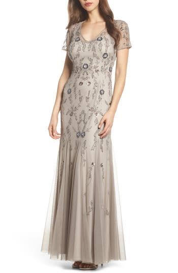 Adrianna Papell Floral Beaded Gown, Metallic