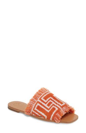 Women's Tory Burch T-Tile Slide Sandal, Size 5 M - Orange