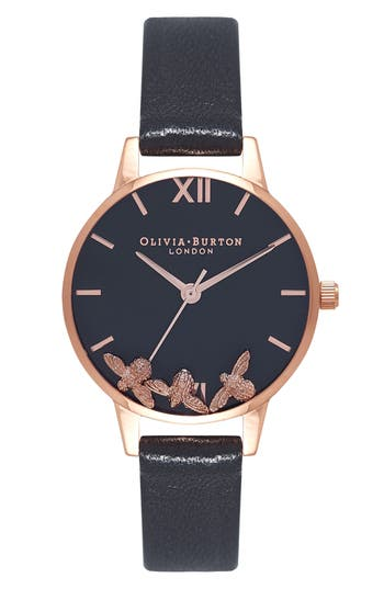 Women's Olivia Burton Busy Bees Leather Strap Watch, 30Mm